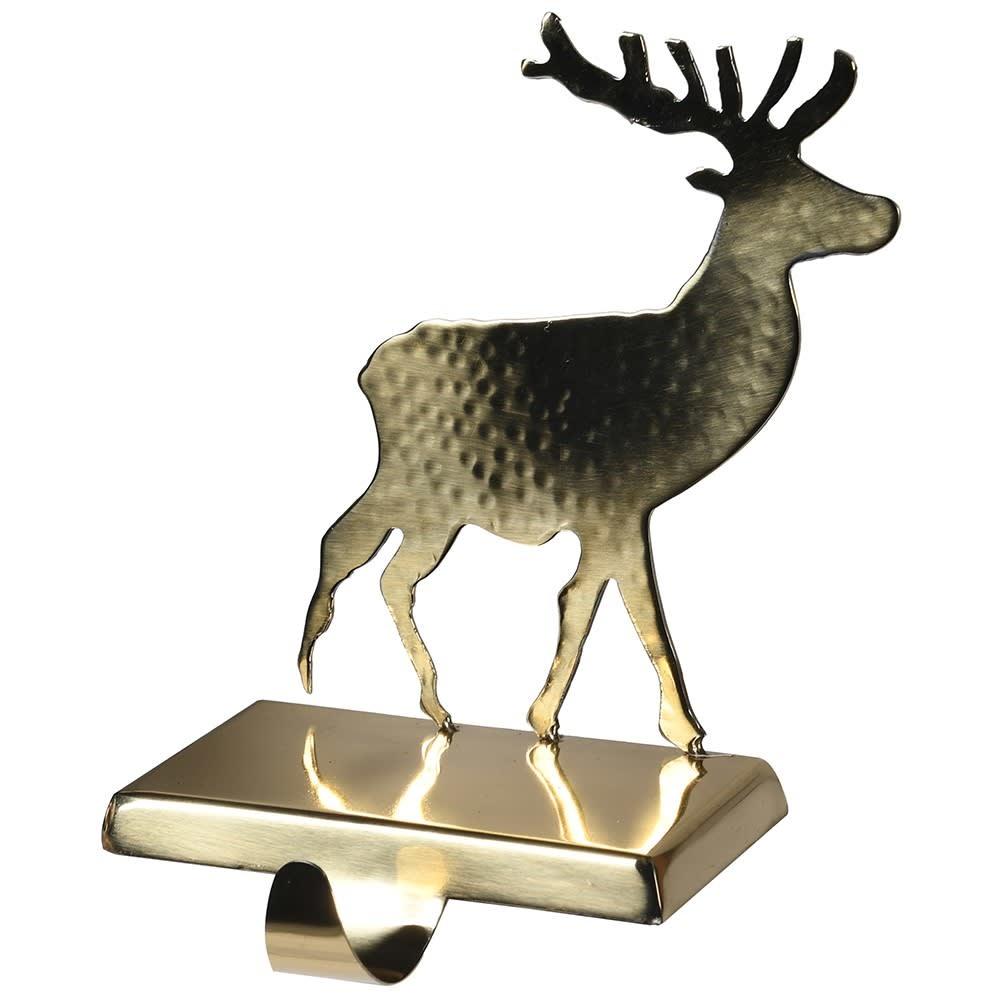 Gold Reindeer Stocking Holder