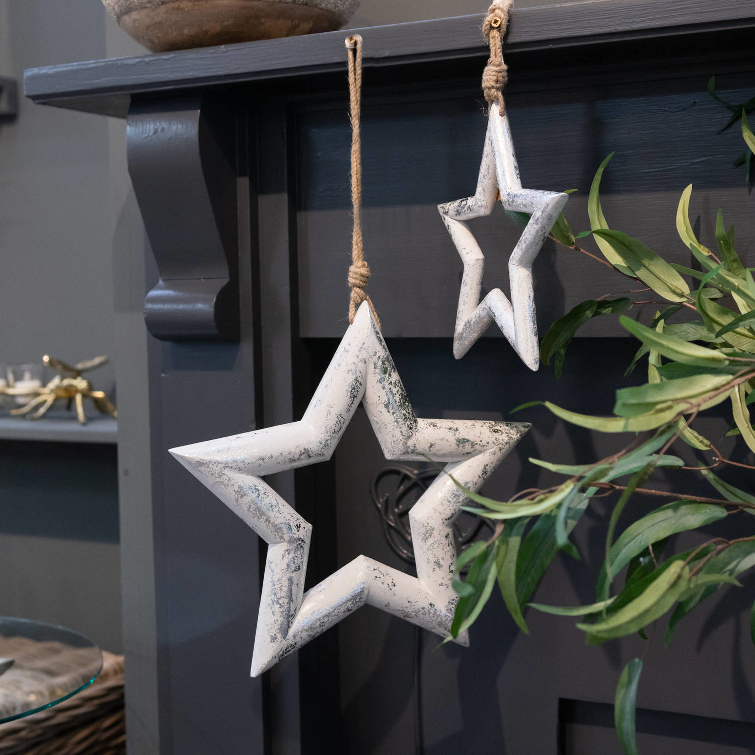Hill Interiors Large Silver Wooden Star Hanging Decoration