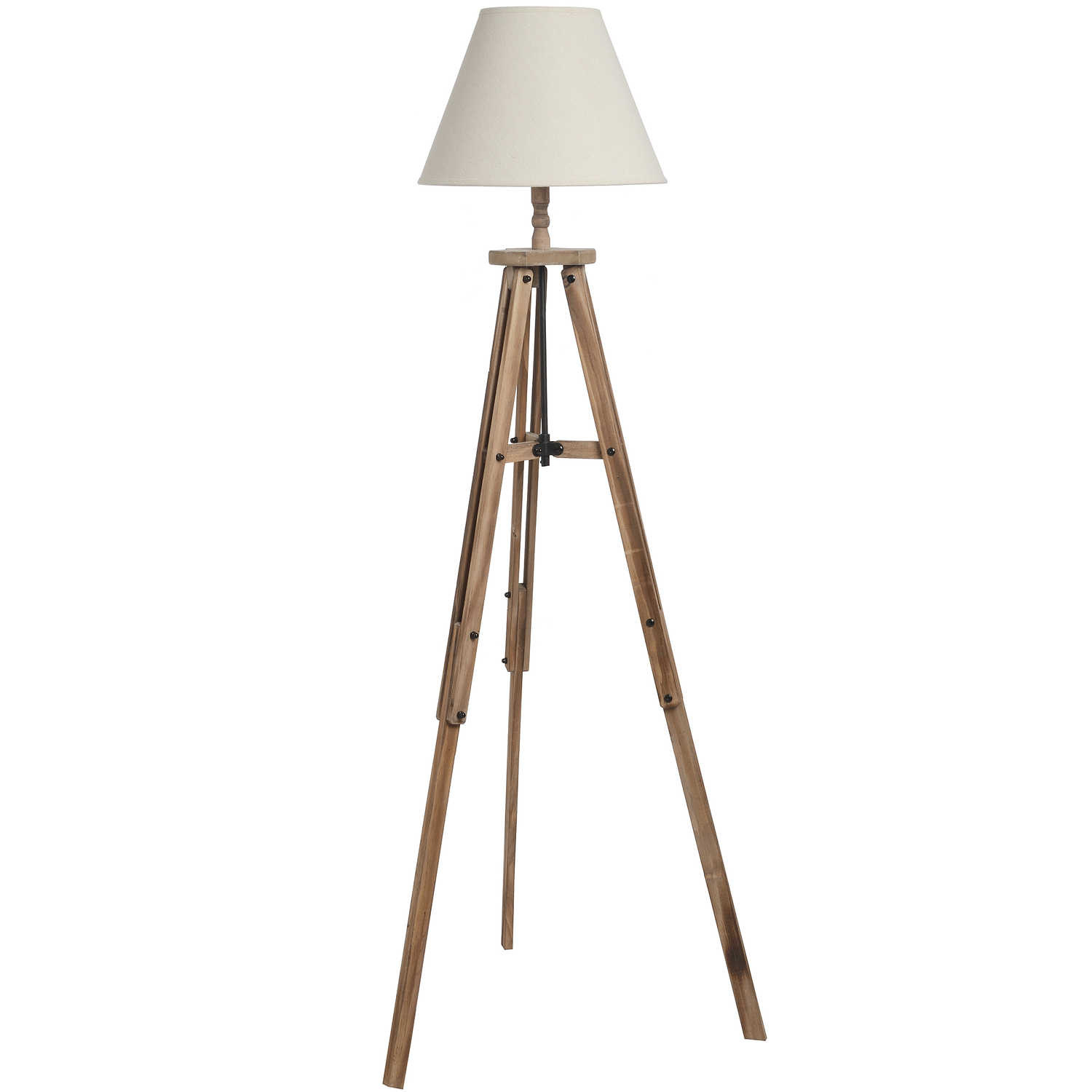 Hill Interiors Wooden Tripod Lamp Set - Floor Lamp and Table Lamp