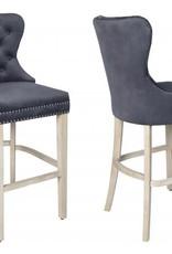 Besp-Oak Grey Velvet Bar Stool with Studded Detail - Pair