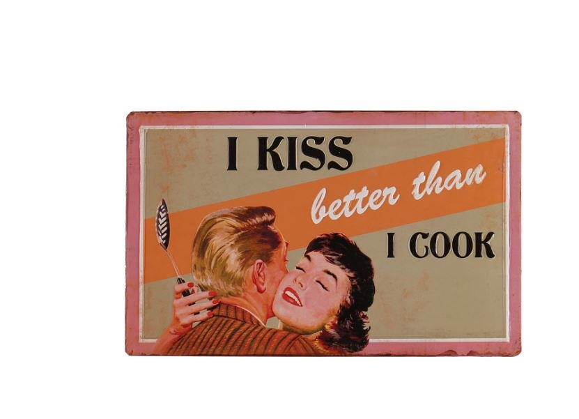 Besp-Oak I Kiss Better Than I Cook Sign