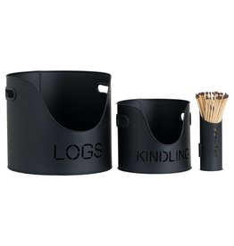 Hill Interiors Log's & Kindling Buckets + Matchstick Holder In Black