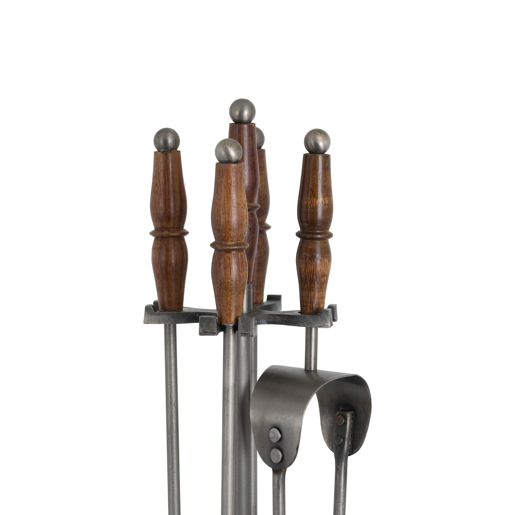 Hill Interiors Hand Turned Fire Companion Set In Antique Pewter With Wooden Handles