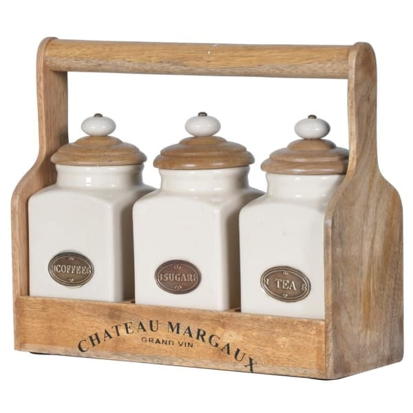 Set of 3 Ceramic Jars with Carrier