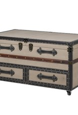 Large Beige Fabric Coffee Table With Opening Trunk