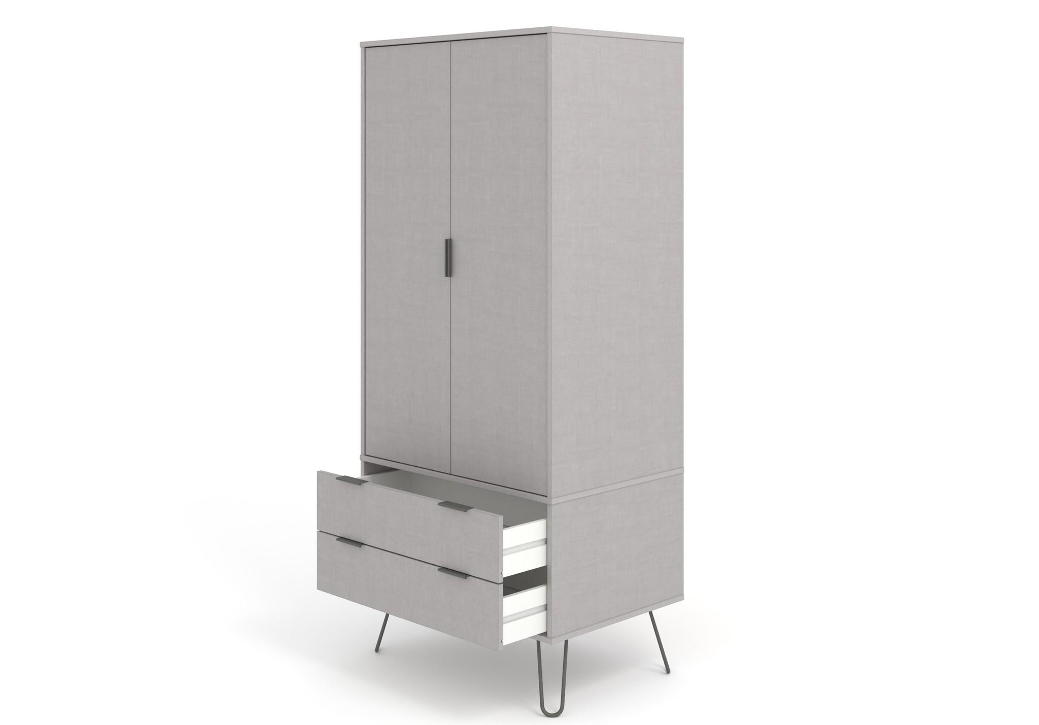 Blend Grey 2 Door 2 Drawer Wardrobe