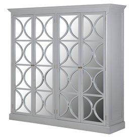 Grey Fayence 4  Door Mirror Wardrobe