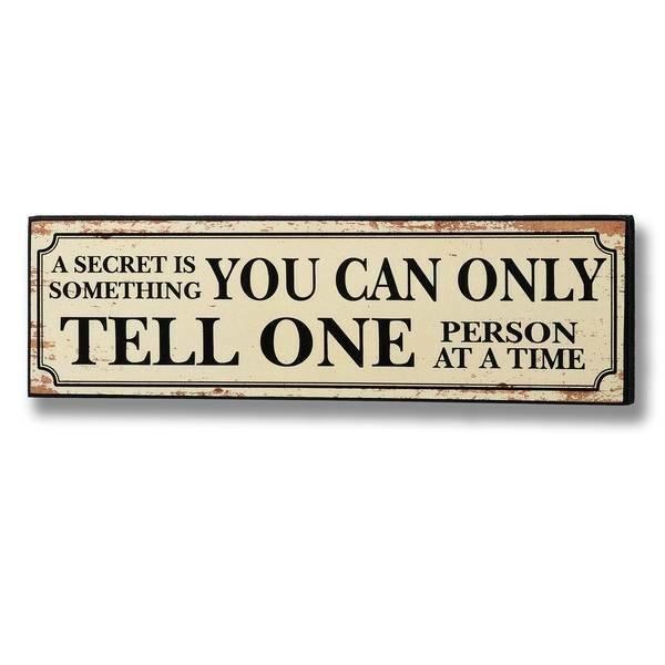 'Secret' Wooden Plaque