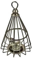 Antiqued Metal Prism Lantern Candle Holder