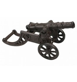 Metal Ornament Small Cannon On Wheels