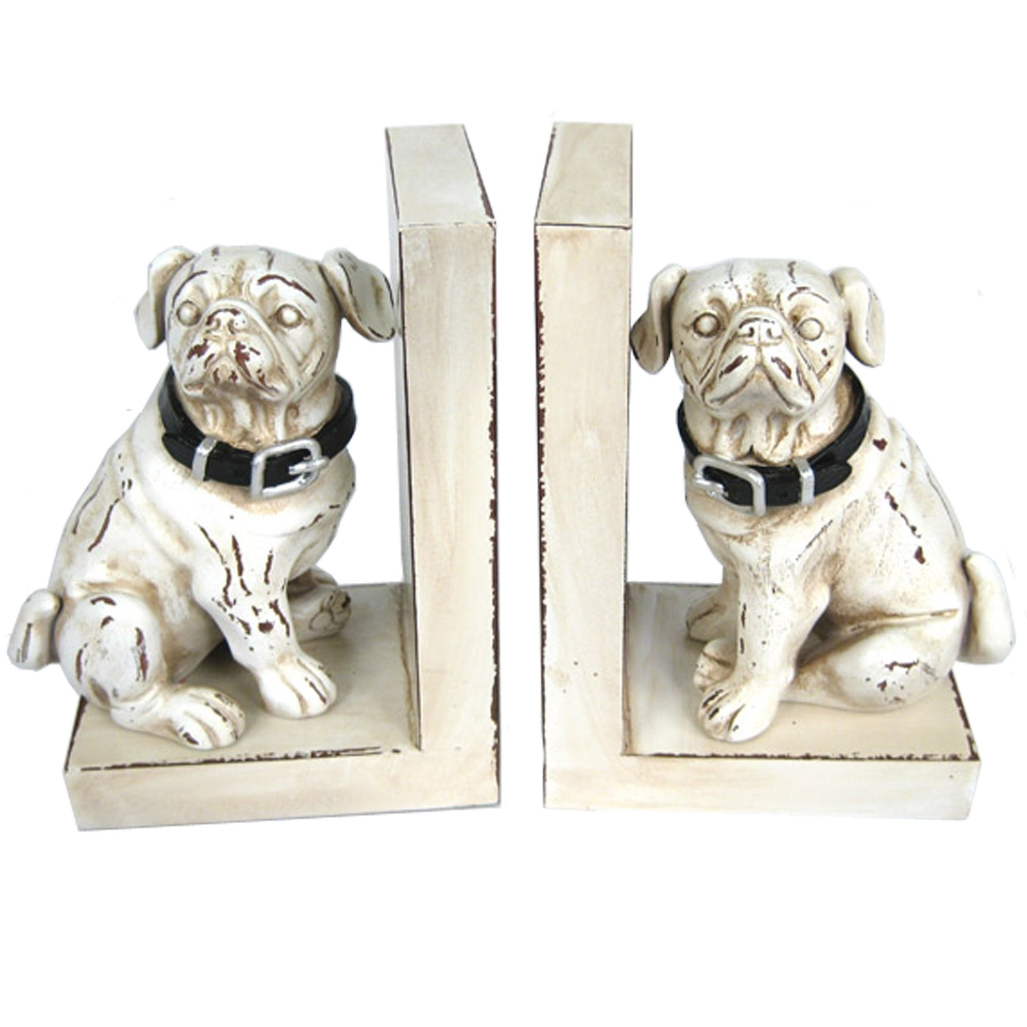 Dog Bookends - White