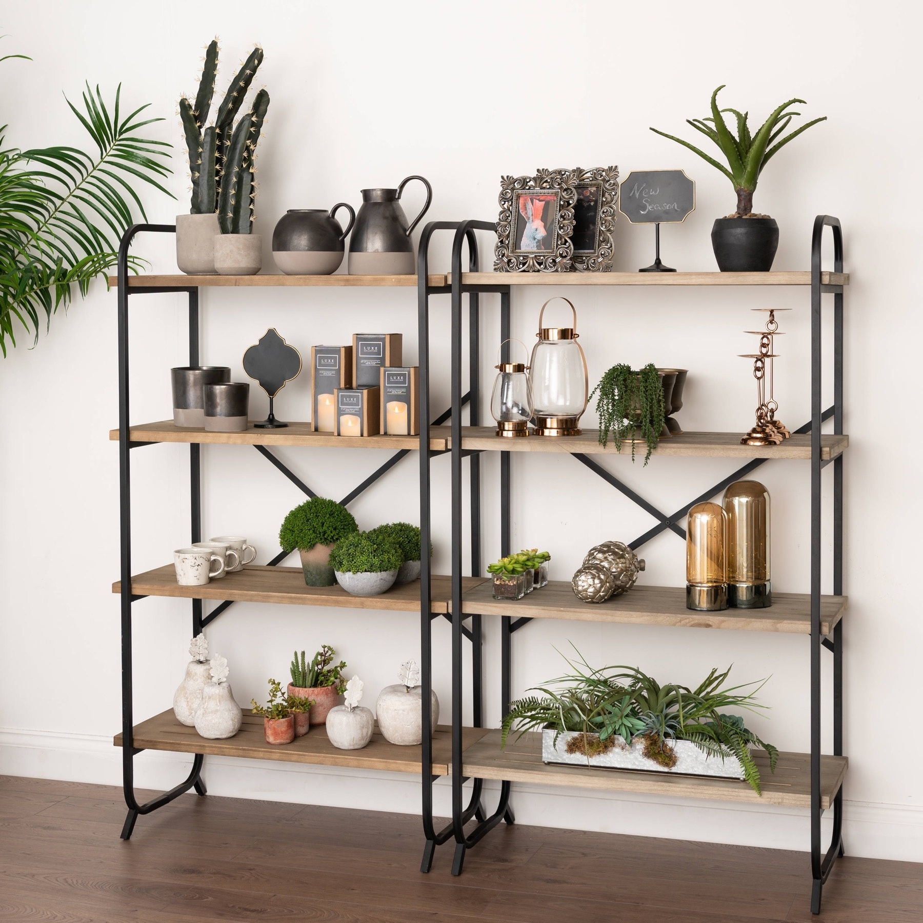 Hill Interiors Industrial Four Tier Shelf Cross Section Display Unit