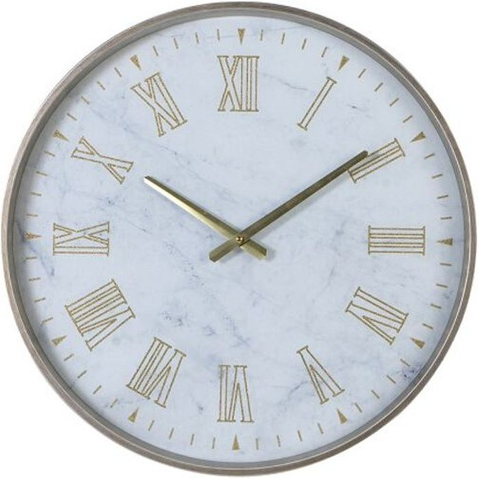 White Grey Marble Effect Round Wall Clock