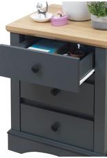 Grey 3 Drawer Bedside