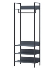 Grey Open Wardrobe With Shelves