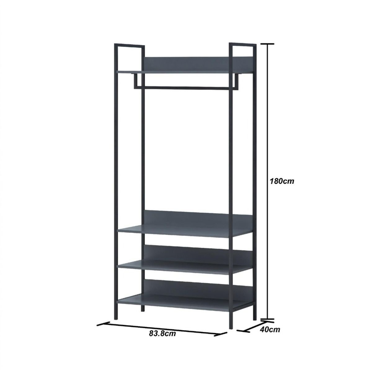 Grey Large Open Wardrobe With Shelves