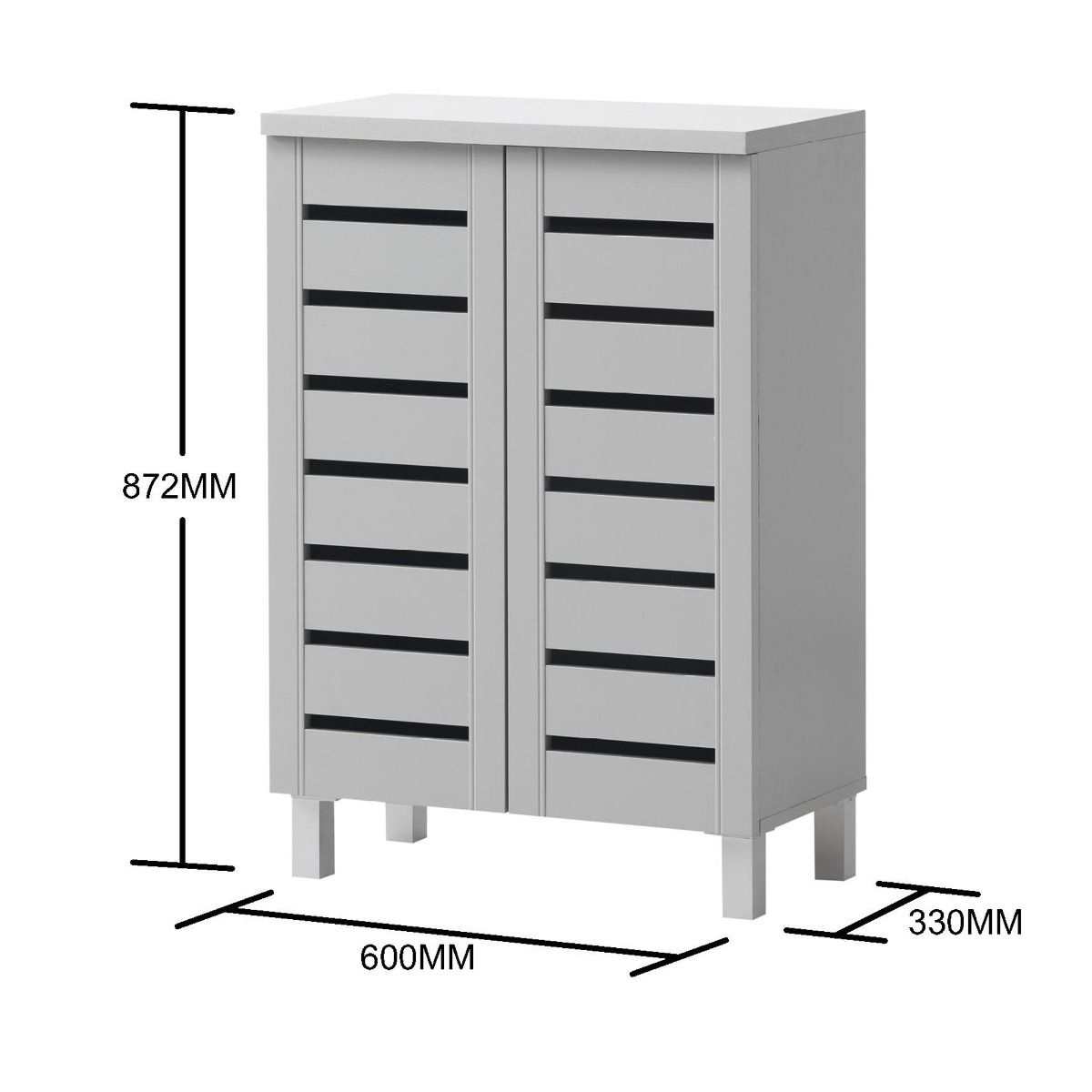 2 Door Shoe Cabinet - Grey
