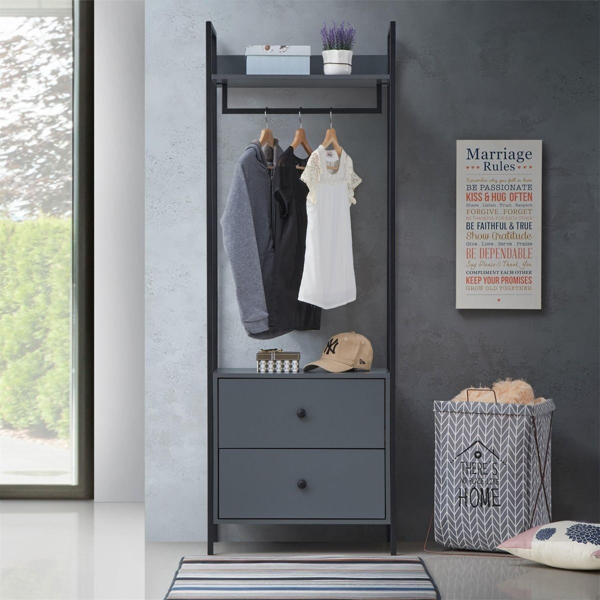 Grey Open Wardrobe With Drawers