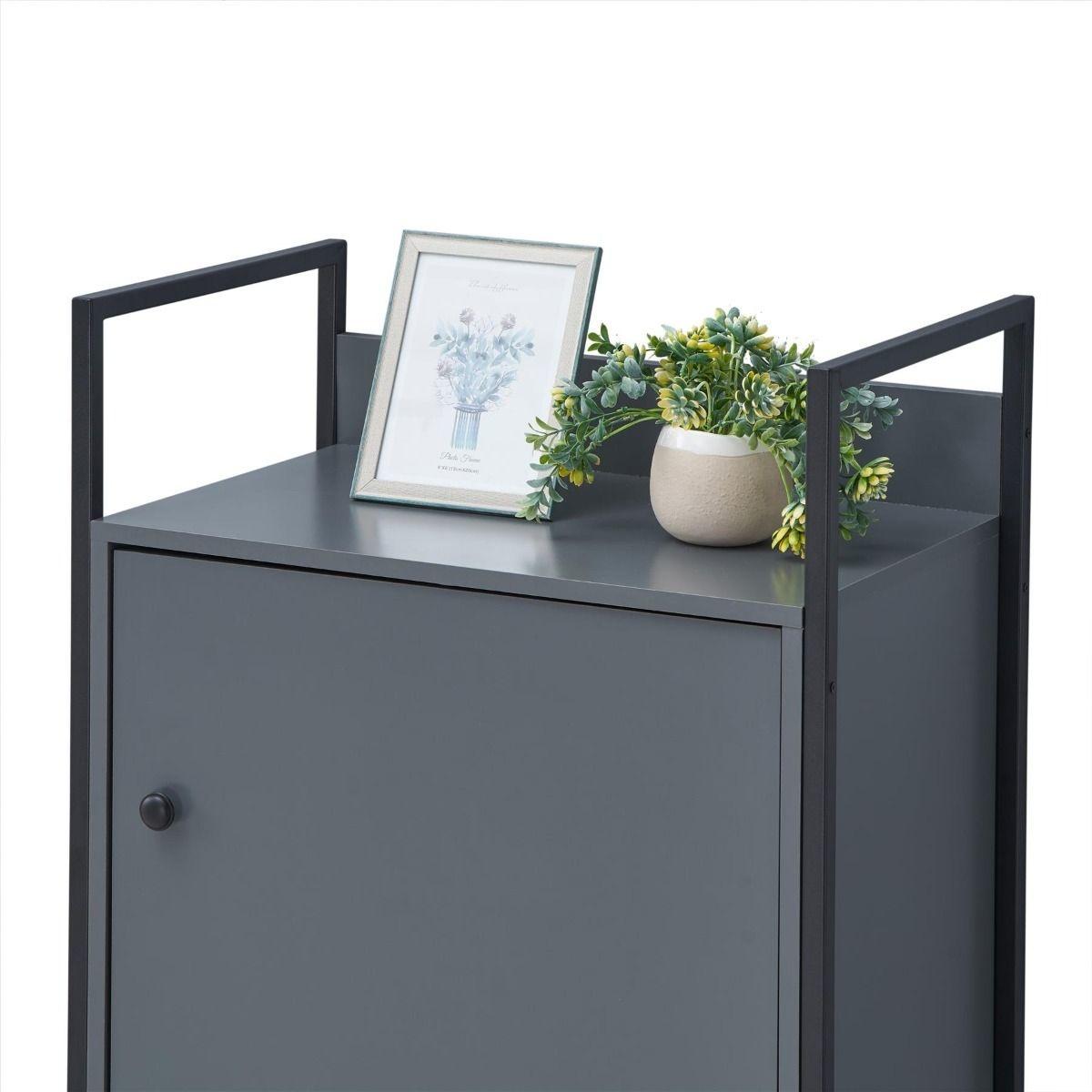 Grey Storage Cabinet With Door & Shelves