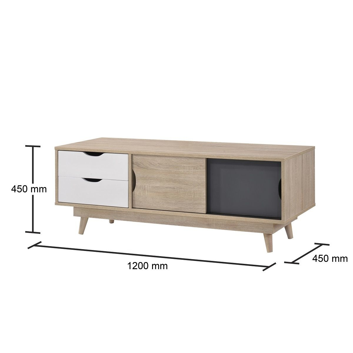 Scandinavian 2 Door & 2 Drawer TV Unit