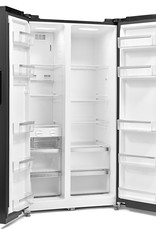 Montpellier M510BK Black Side By Side Fridge Freezer With Recessed Handle Design