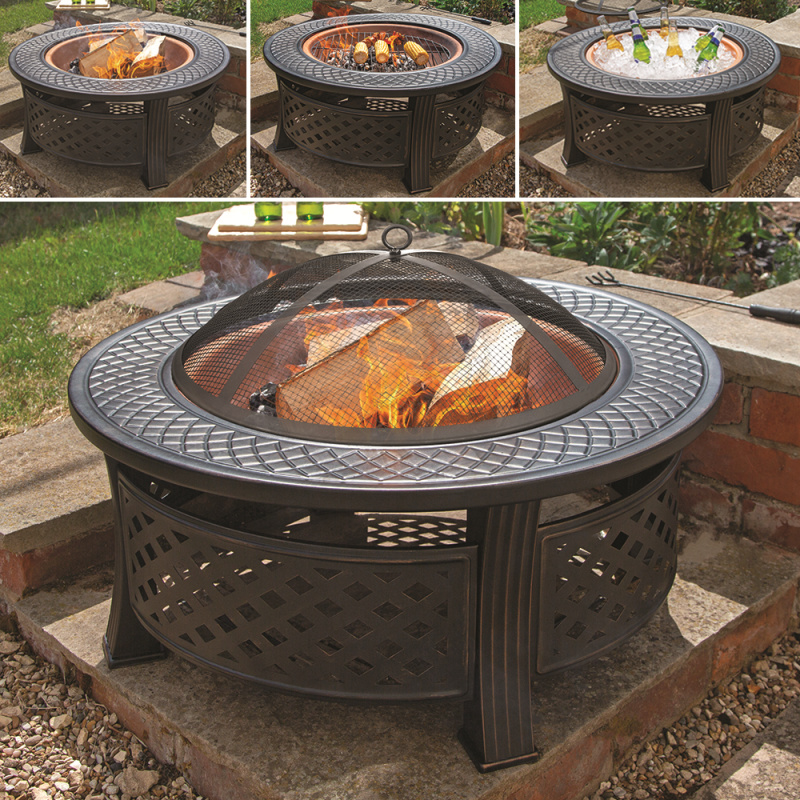 Round Steel Firepit With Copper  Effect Bowl
