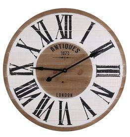 Besp-Oak Round Wooden Clock Antiques 1870 London