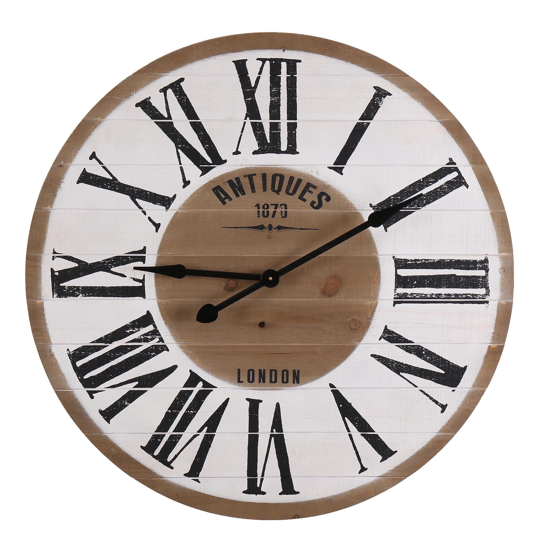 Besp-Oak Round Wooden Clock Antiques 1870 London