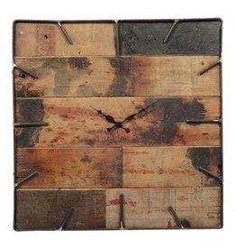 Besp-Oak Teak Wooden Clock with Square Iron Frame