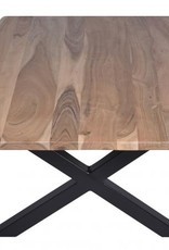Besp-Oak Live Edge Natural Acacia X Leg Coffee Table