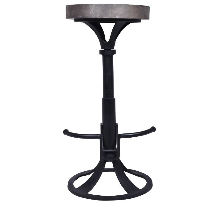 Besp-Oak Industrial Iron & Wood Stool With Footrest