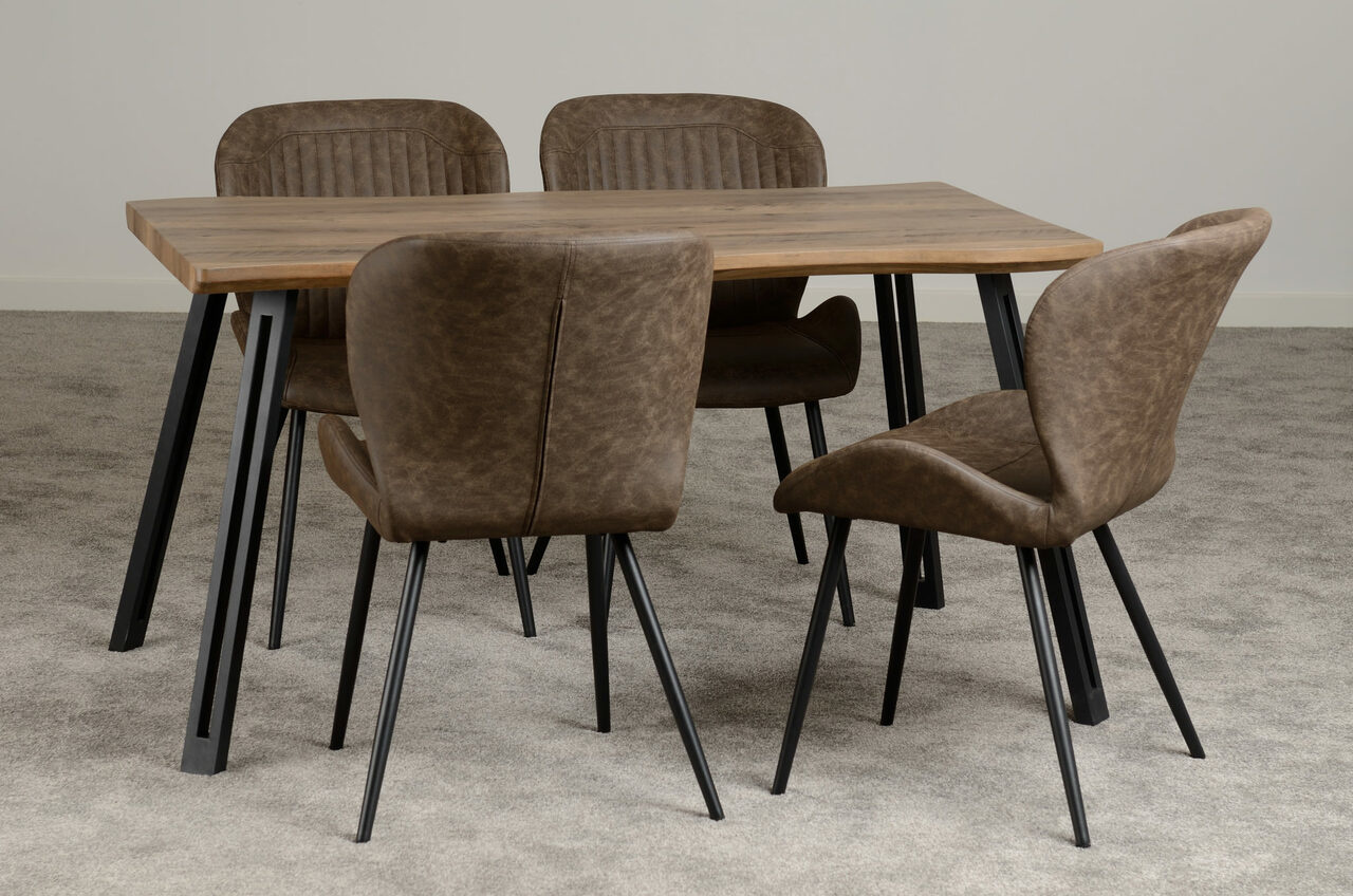 Industrial Style Wave Dining Set
