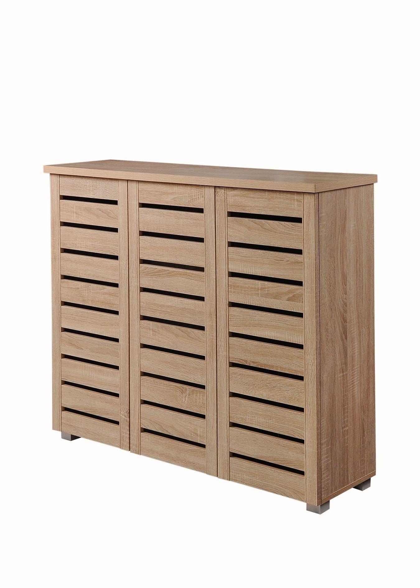 Modern Sonoma Oak 3 Door Shoe Cabinet