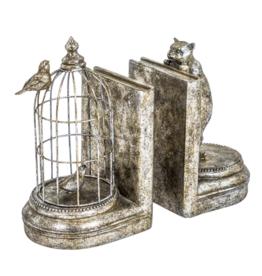 Antique Silver Curious Cat Bookends