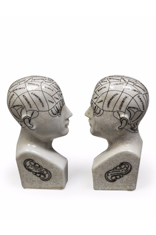 Antiqued Ceramic Phrenology Head Bookends