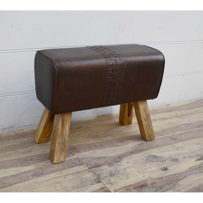 Besp-Oak Brown Leather Pommel Horse Stool
