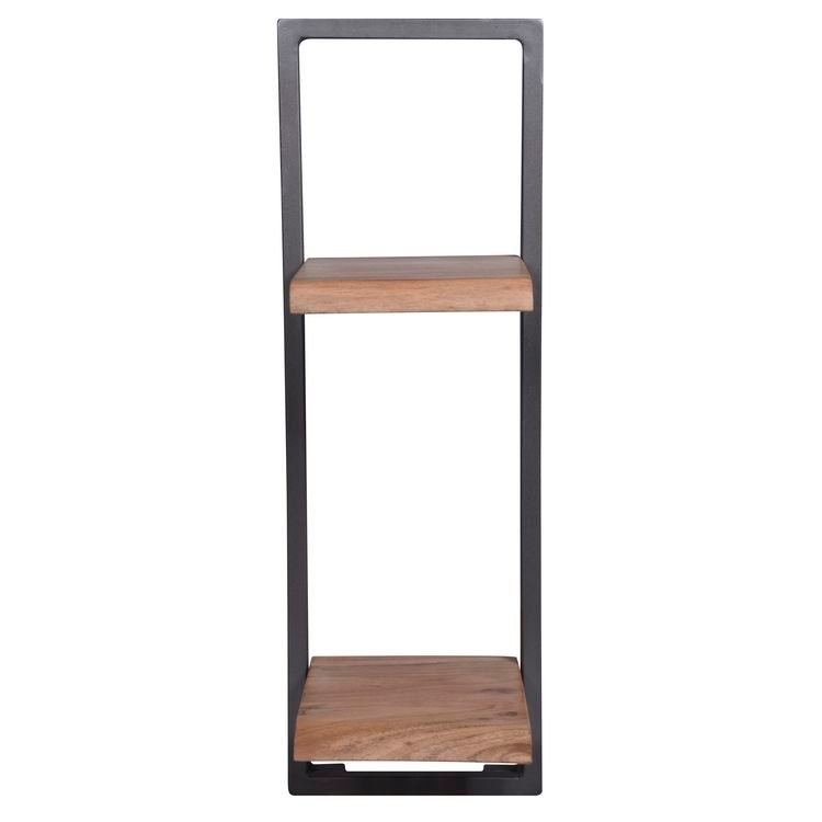 Besp-Oak Arkwright Industrial Style Iron and Wood Framed Double Shelf