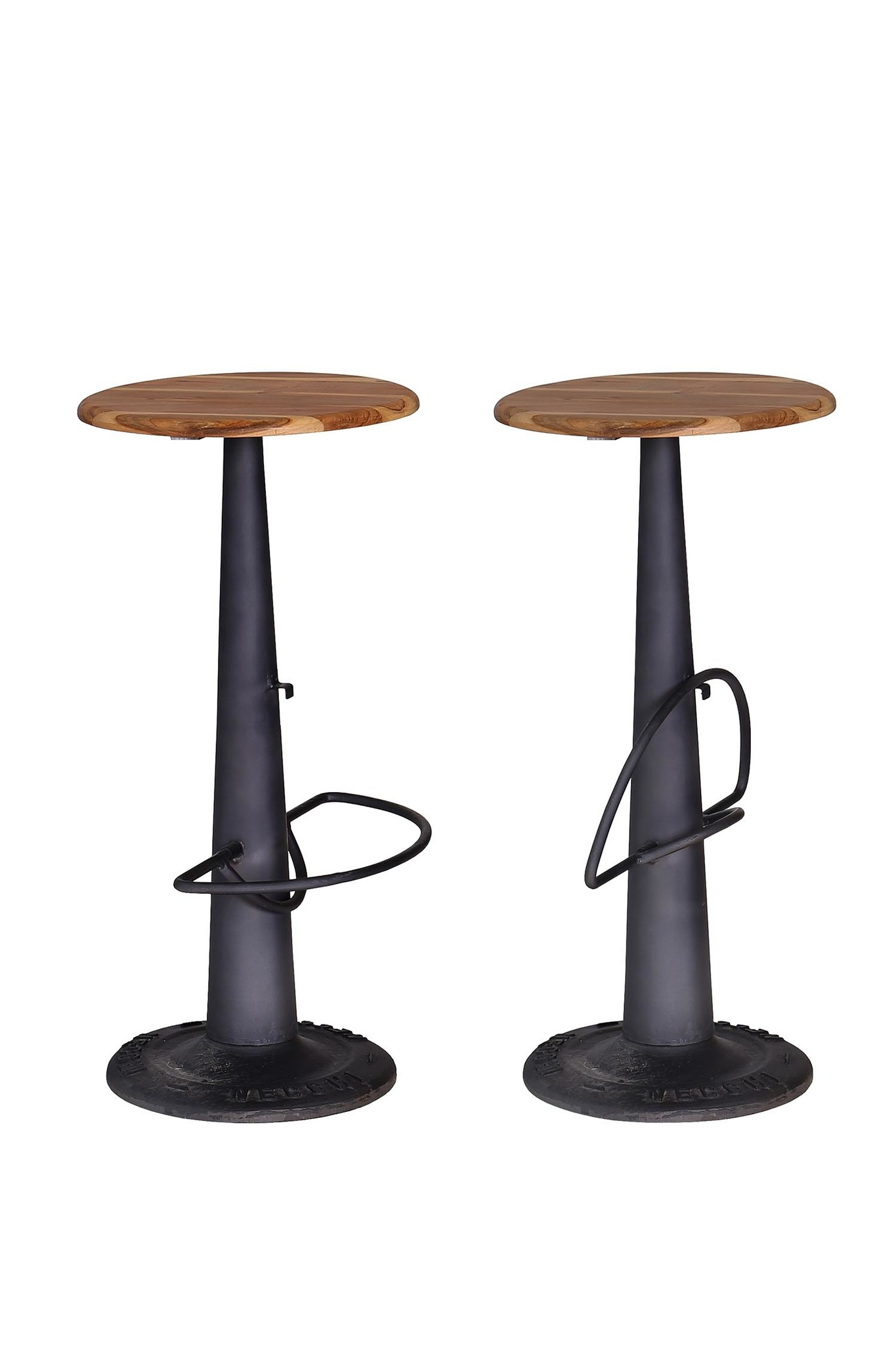 Besp-Oak Industrial Style Bar Stool With Footrest