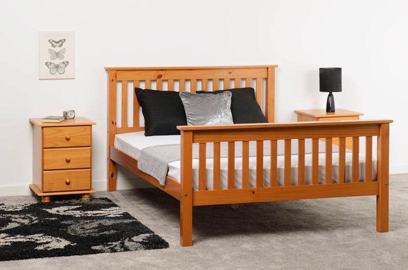 Seconique Monaco Double Bed - Antique Pine