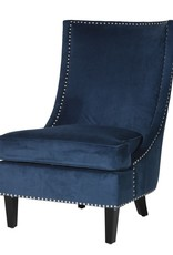 Blue Slipper Chair with Silver Studs
