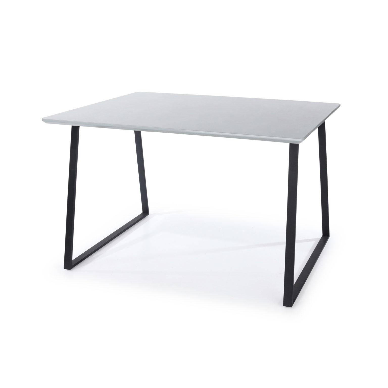 Aspen Dining Table Metal Legs Grey Gloss
