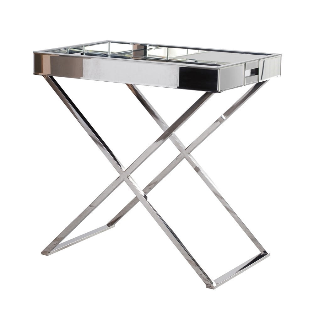 Mirrored Bedside Tray Table