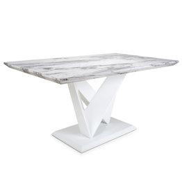 Shankar Saturn Medium Marble Effect Grey/White Dining Table