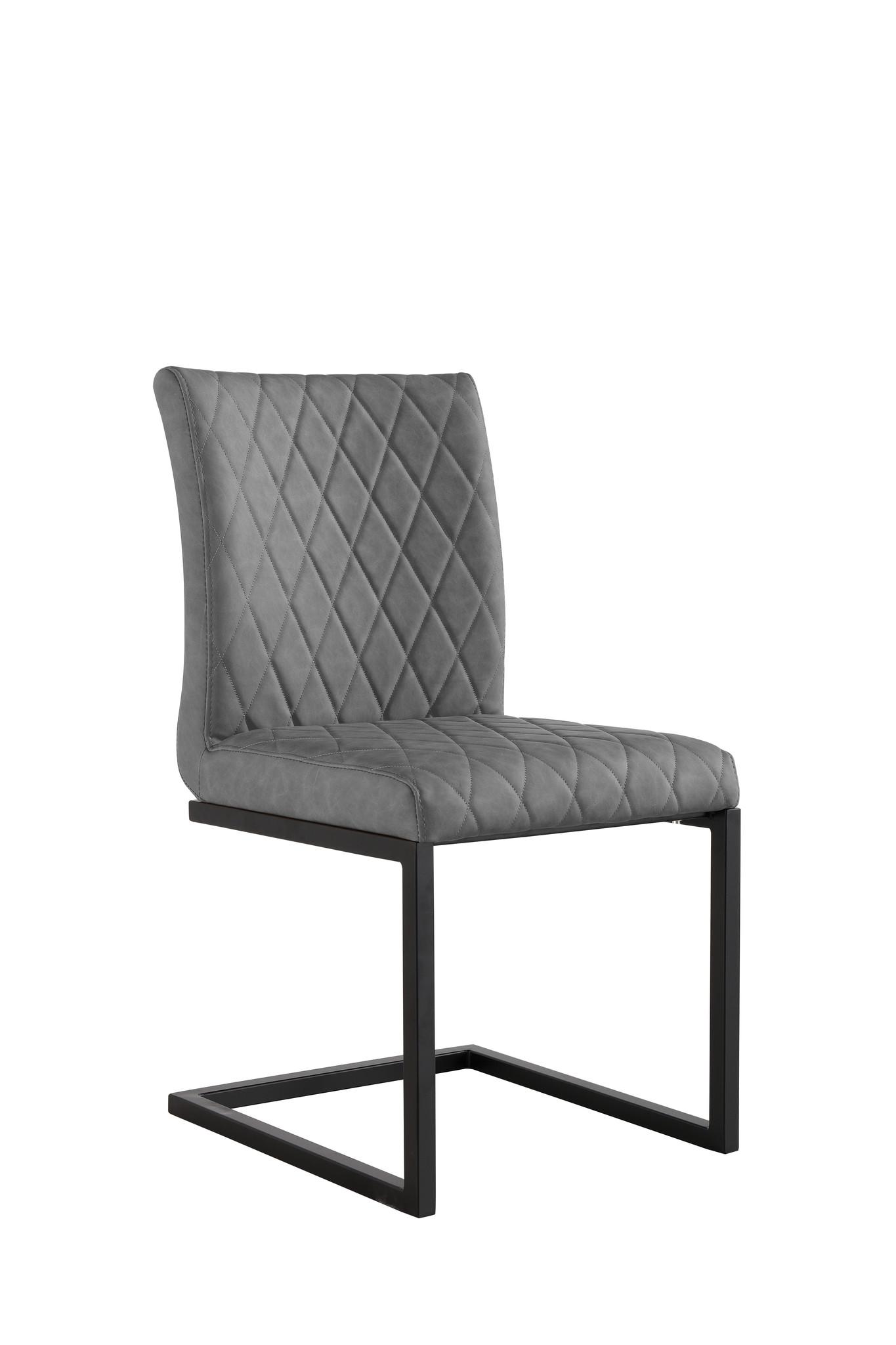 Diamond Stitch Dining Chair - Grey PU - Pair