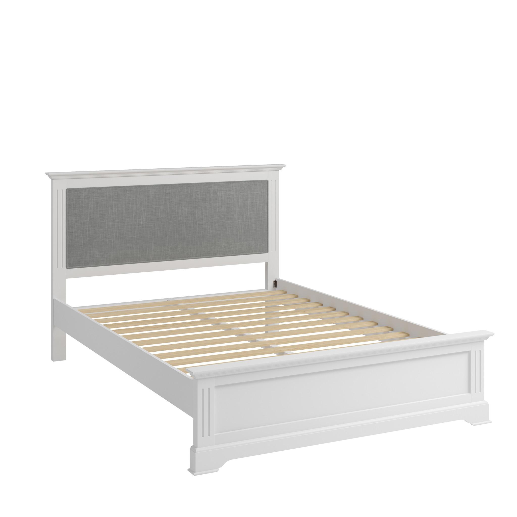 Essentials Elegant White & Grey Bed Frame - King Size