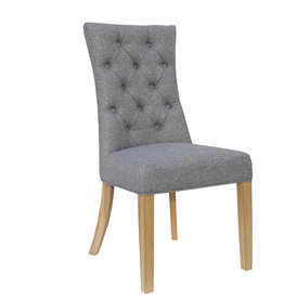 Essentials Curved Button Back Chair - Light Grey