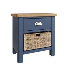 Essentials Dark Blue 1 Drawer & Basket Lamp Table