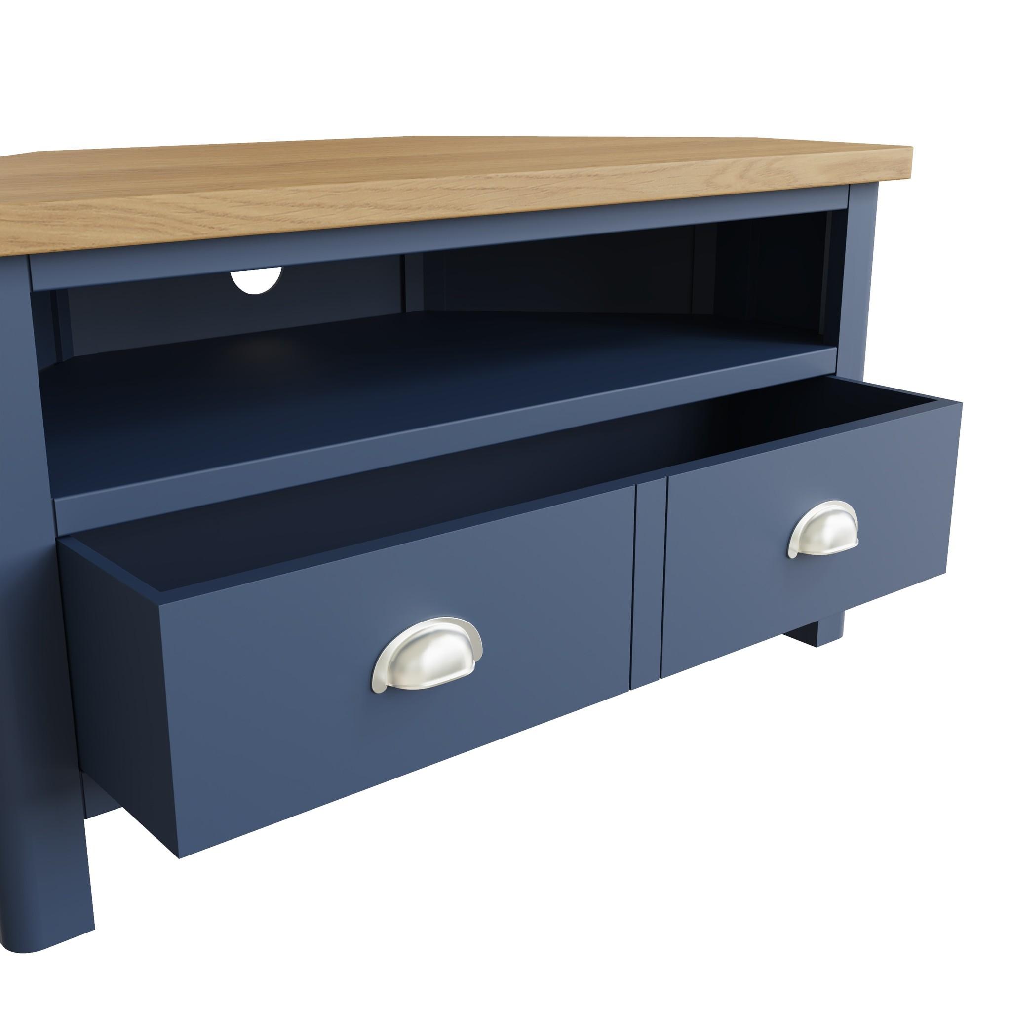 Essentials Dark Blue Corner TV Unit