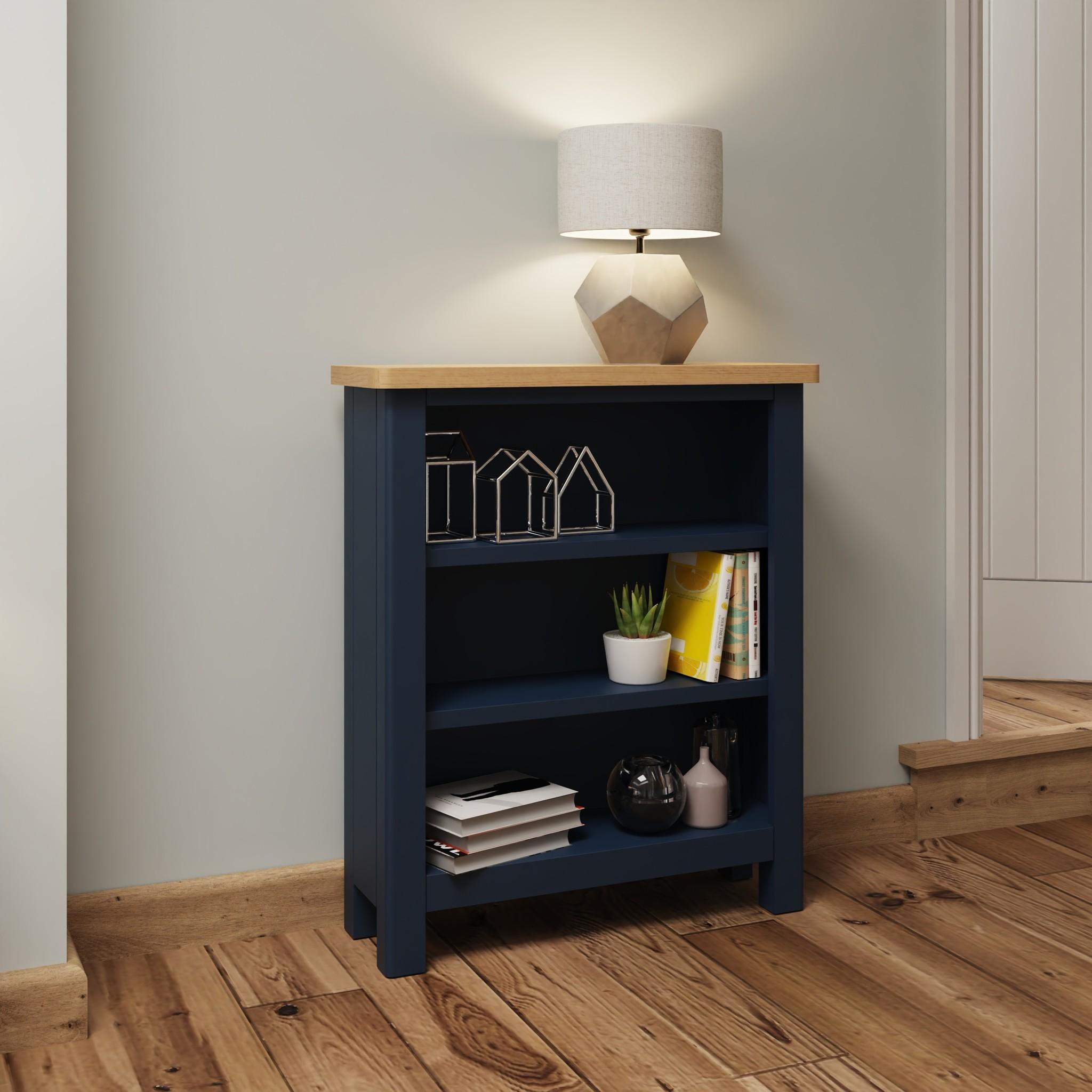 Essentials Dark Blue Small Wide Bookcase