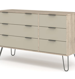 Augusta Driftwood 3+3 drawer wide chest of drawers